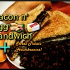 Bacon Egg Peanut Butter Sandwich with Sweet Potato Hash Browns